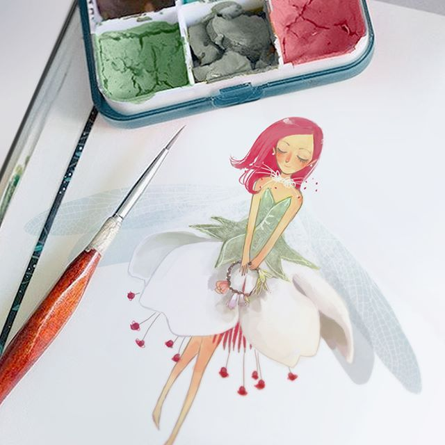 #fairy #cherry #bloom #illustration #watercolor #jewels