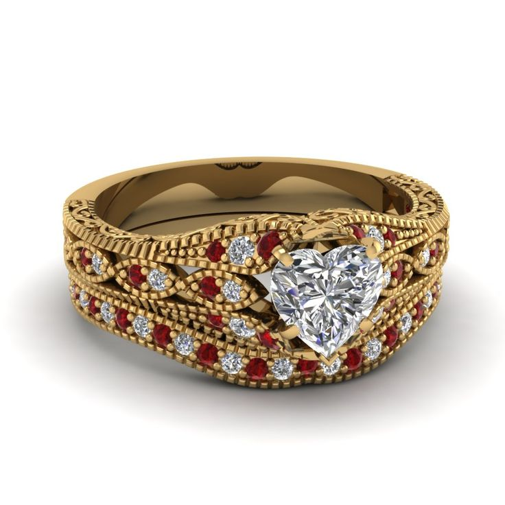 Vintage Style 1 Ct. Heart Diamond Wide Band Wedding Rings with Red Ruby in 14K Yellow Gold exclusively styled by Fascinating Diamonds