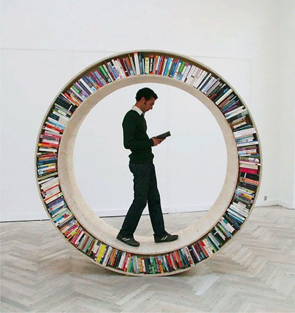David Garcia's rolling bookcase. You can take it for a walk