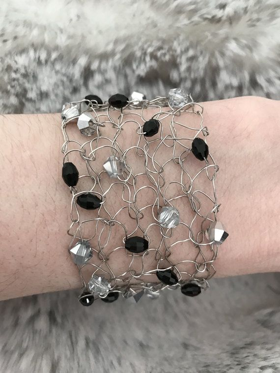 Ready To Ship Knitted Wire Bracelet Black and Silver by CatDKnits