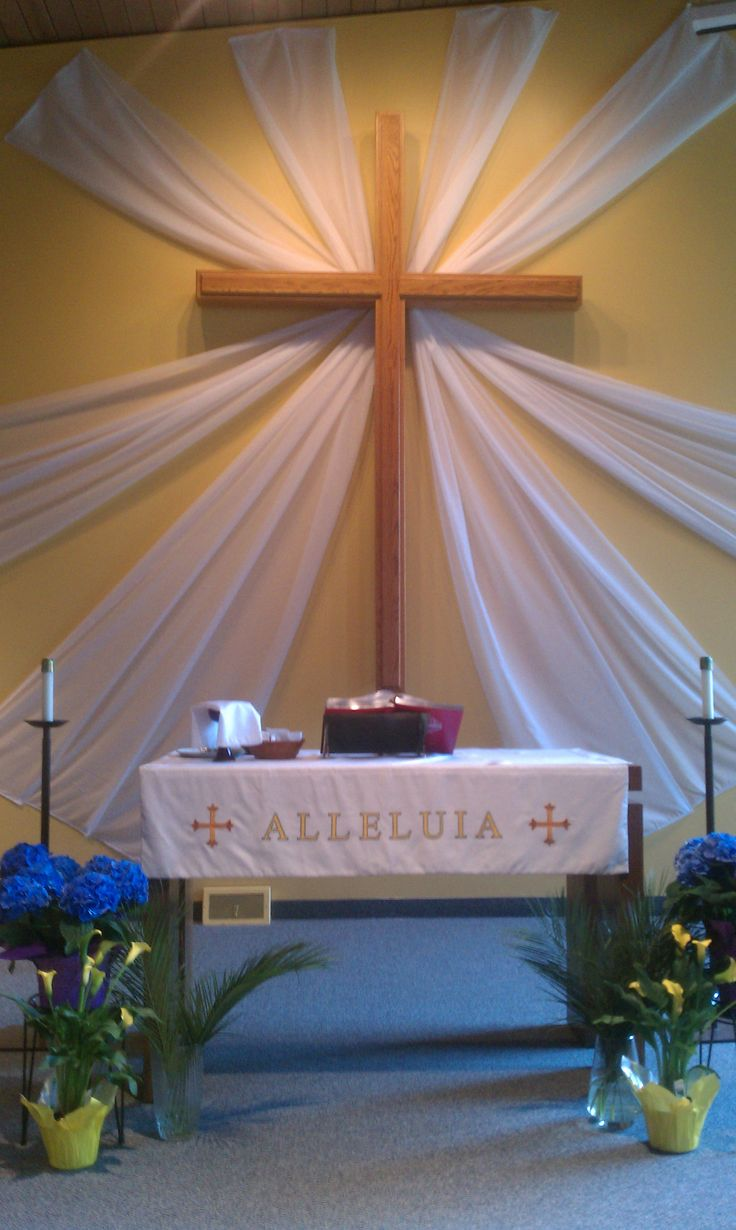 Easter with sheer curtains church art pinterest for Painting sheer curtains