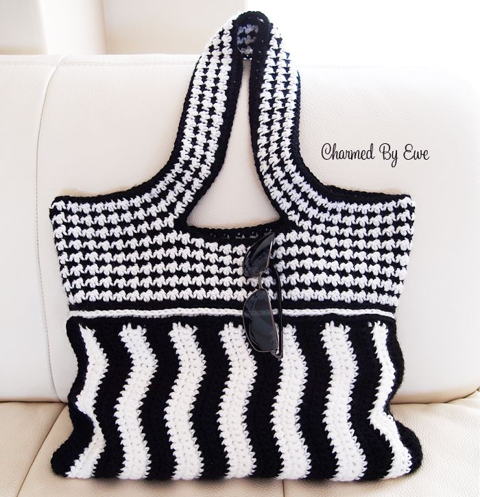 Charmed By Ewe | Moiré Shoulder Bag Crochet Pattern, for sale on Ravelry, Etsy, and Craftsy