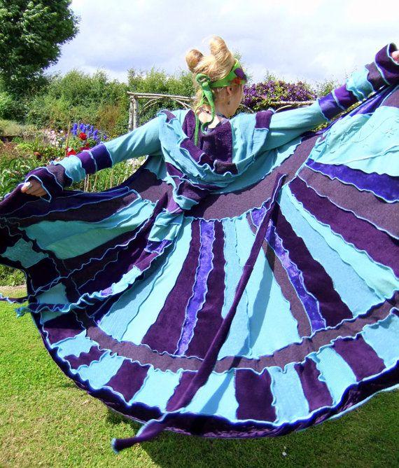 RESERVED for Lisa - fairy pixie elven gypsy  sweater elf coat - upcycled hippy - Purple Velvet Magic Mint - by Fairytea. €61,00, via Etsy.