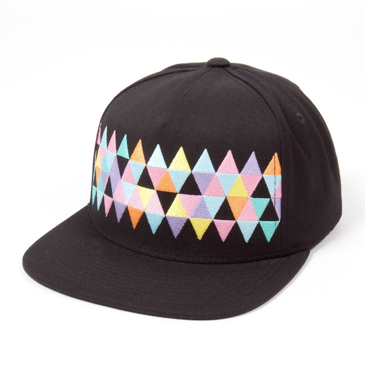 Woven Rainbow Pinch Panel Snapback Cap Black