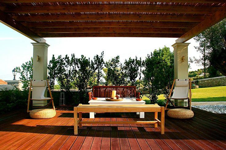 Xenon Estate villas in Spetses - swimming pool kiosk under the shadow of a pergola.  www.xenonestate.gr