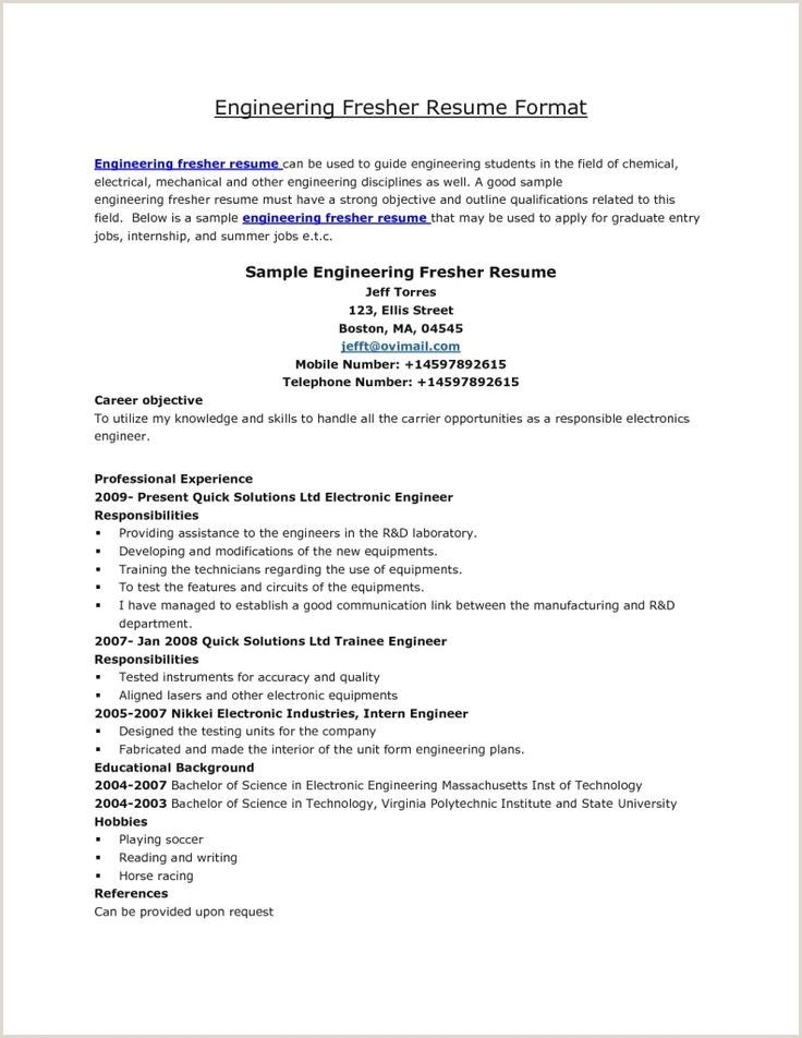 Fresher Resume Format For Engineers Ece Fresher Resume