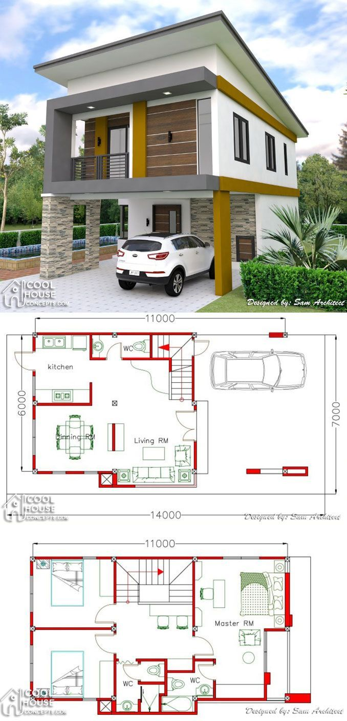 Two Storey House Plan With 3 Bedrooms 2 Car Garage 2 Storey House Design Model House Plan Small Modern House Plans