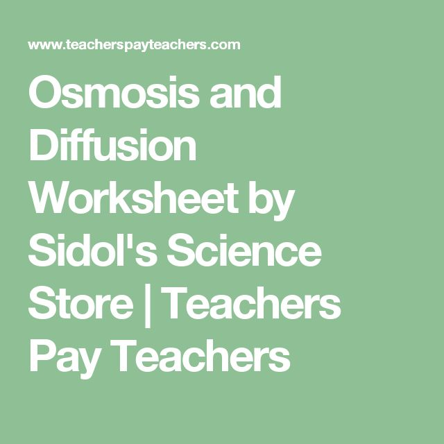 Osmosis and Diffusion Worksheet by Sidol's Science Store | Teachers Pay Teachers