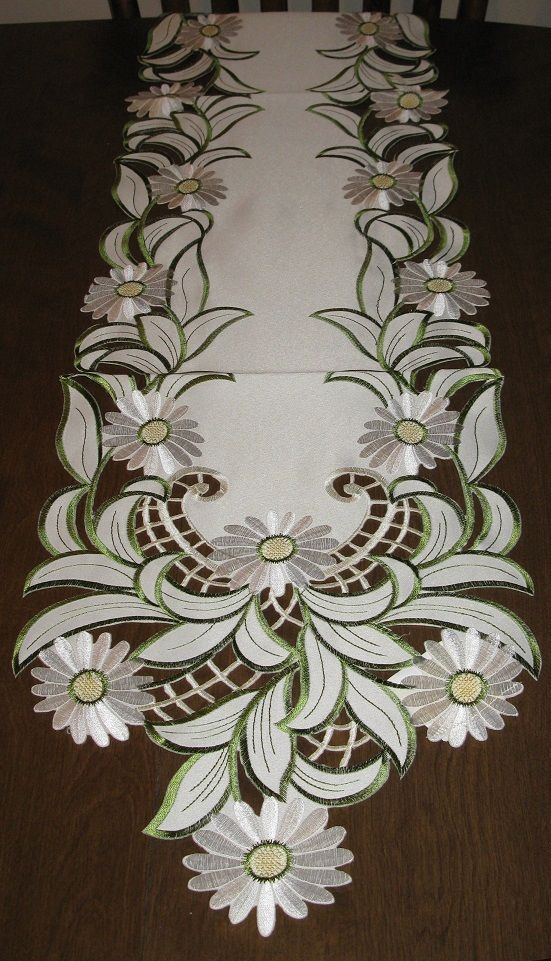 "Details about Table Linens White Daisy cutwork Runner (68""x13"") or Topper (34""…"