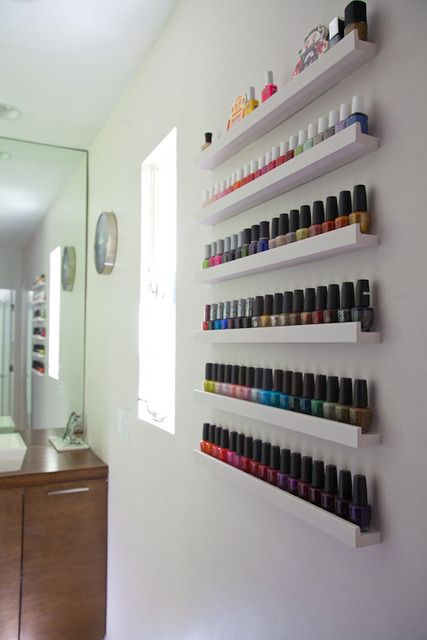Awesome nail polish rack if you don't want to make one or buy one. Use picture ledges from ikea