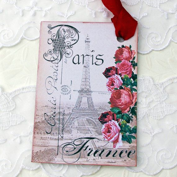 Eiffel Tower Tags French Gift Hang Paris Red by EnchantedQuilling