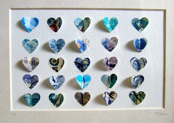 Blue Heart Postage Stamp