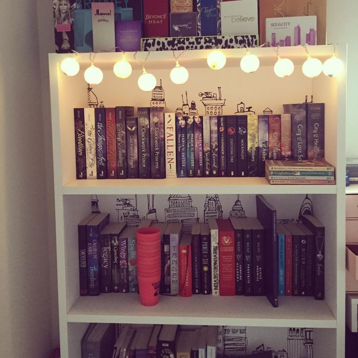 Pretty bookshelf with glowing fairy lights. Buildings in the background. Mortal instruments, bloodlines, hunger games, the 5th wave, vampire academy, wings and other books!
