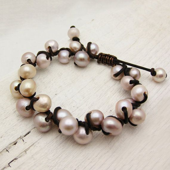 Pink Pearl and Leather Bracelet Knotted w/ Natural Fresh Water Pearls