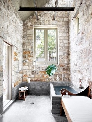 love... love the brick walls.: Bathroom Design, Modern Bathroom, Brick Wall, Stones Wall, Rustic Bathroom, Interiors Design, Natural Stones, Bathroom Ideas, Stones Bathroom