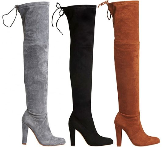 """Lipstik """"Skarlett"""" Microsuede Over-The-Knee Boots in dove grey, black and brown, $149.95 AUD (Stuart Weitzman Highland dupes)"""