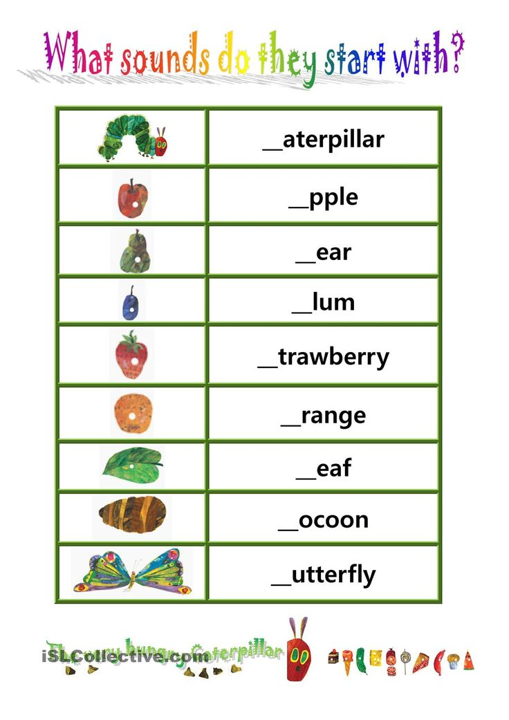 "Phionics-beginning sound with ""The very hungry caterpillar"" worksheet - Free ESL printable worksheets made by teachers"