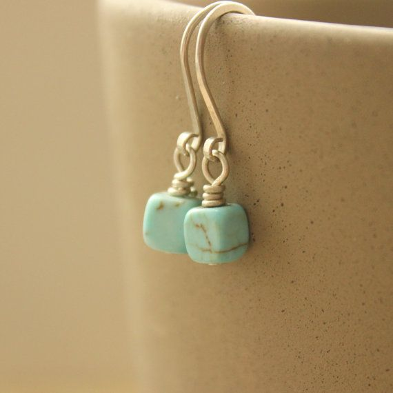 hammered loop end for ear wires with Square Blue Bead Earrings, simple but beautiful, Etsy