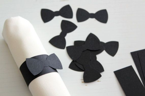 Hey, I found this really awesome Etsy listing at https://www.etsy.com/listing/167755064/25-black-bow-tie-paper-napkin-ring-1x5