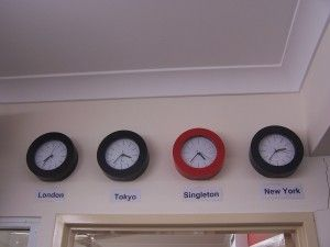 Neat for a travel-themed room, if nicer clocks were used.