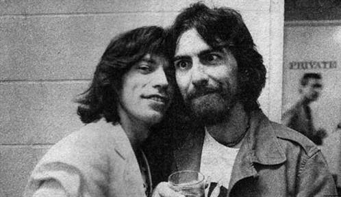 Mick Jagger and George Harrison                                                                                                                                                                                 More