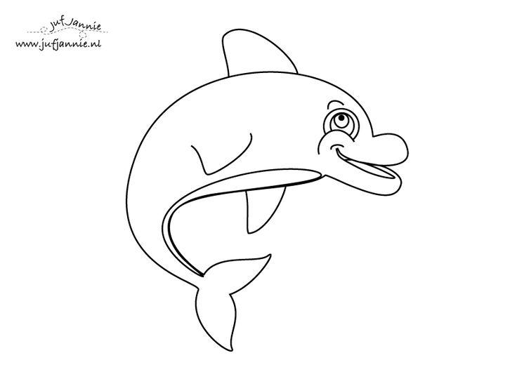 zee kleurplaat dolfijn
