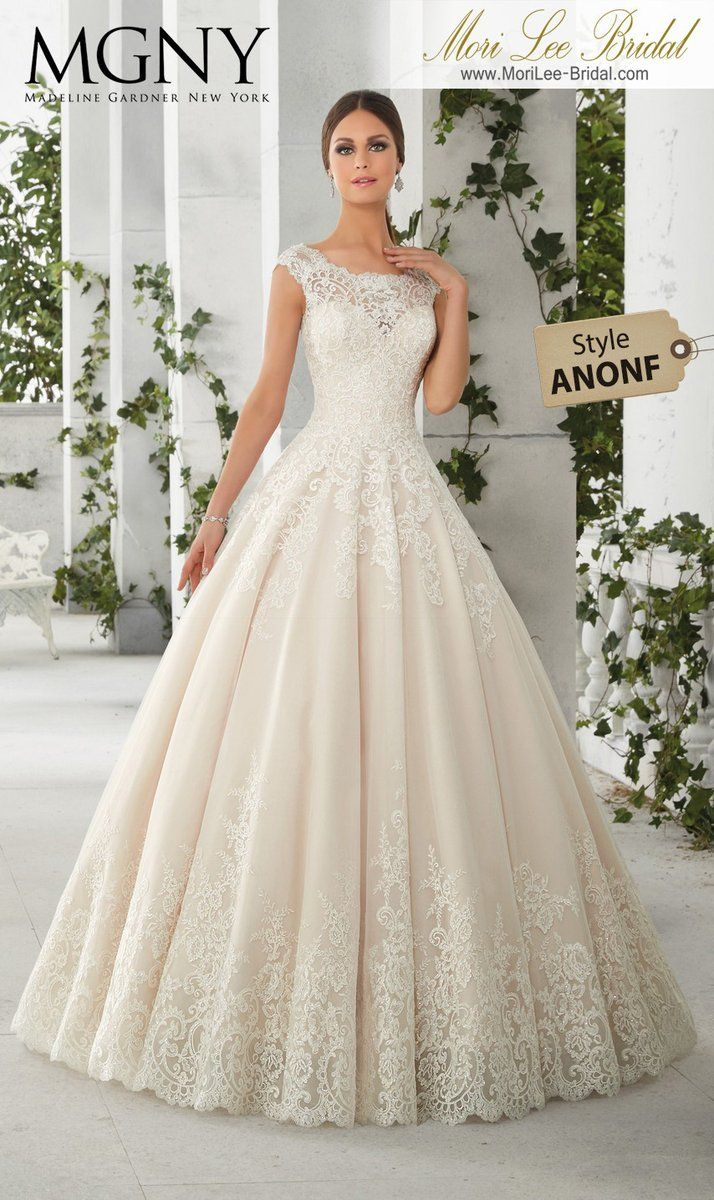 Felicity A classic frosted tulle princess gown decorated with alencon  appliques 1f1e8107e30d