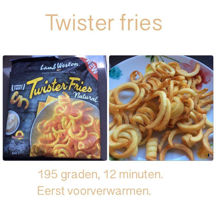 Twister fries uit de Airfryer. 195 graden, 12 minuten. AK