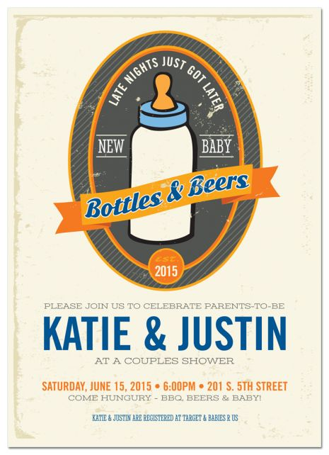 Bottles and Beers Baby Shower Invitation http://www.papersnaps.com/party/party-invitations/baby-shower-invitations/bottles-and-beers-baby-shower-invitation.html