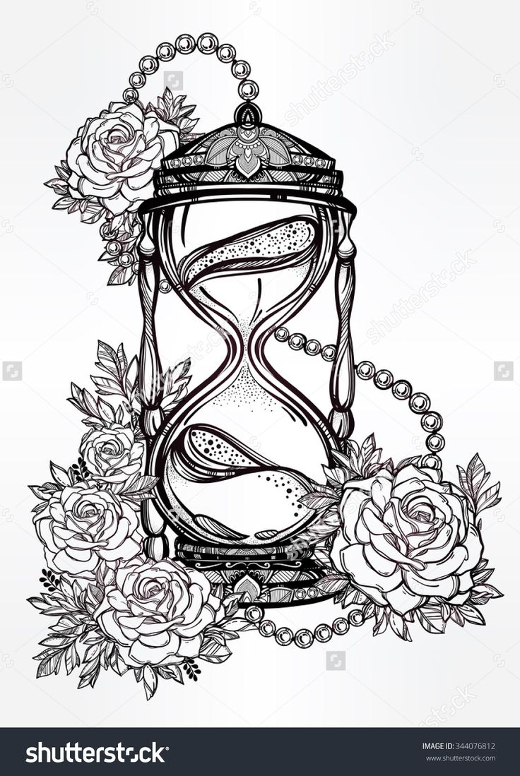 Hand drawn romantic beautiful drawing of a hourglass with roses. Vector illustration isolated. Tattoo design, mystic time symbol for your use.