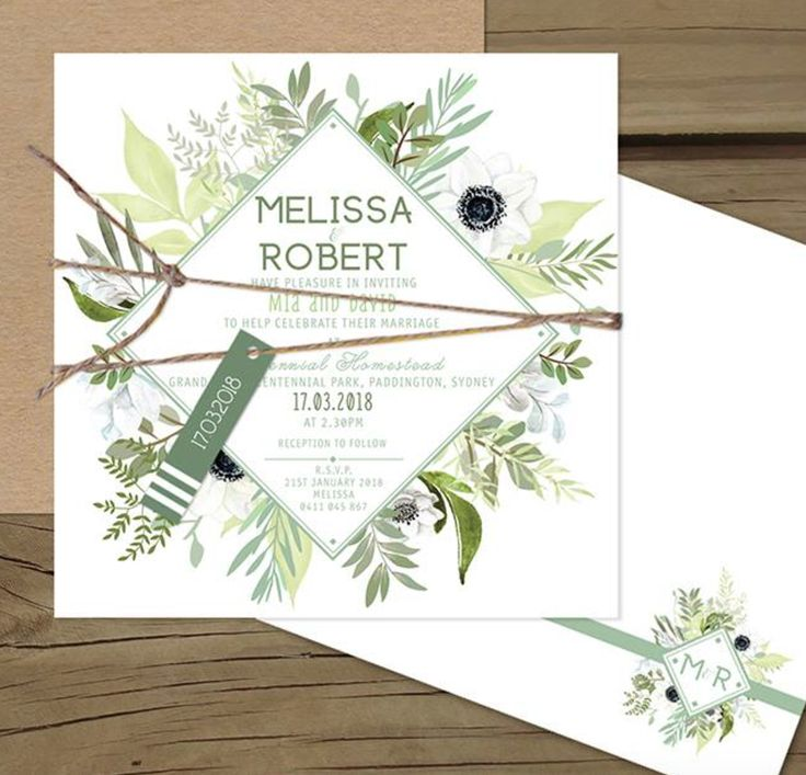 Fresh is best. Greenery setting the tone for a rustic, very on trend wedding. For a little bit of wild and free in your wedding invitation.