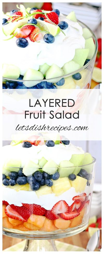 Layered Summer Fruit Salad with Creamy Lime Dressing Recipe | Fresh fruit and a creamy lime dressing come together in this layered summer fruit salad! #fruitsalad