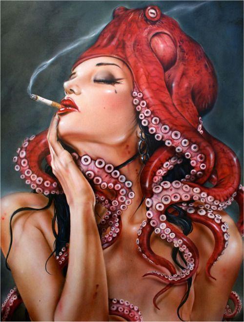 Brian M Viveros  OctopussyArt Drawing, Artworks, Brian Viveros, Illustration, Black White, Brianvivero, Octopussy, Octopuses, Oil Painting