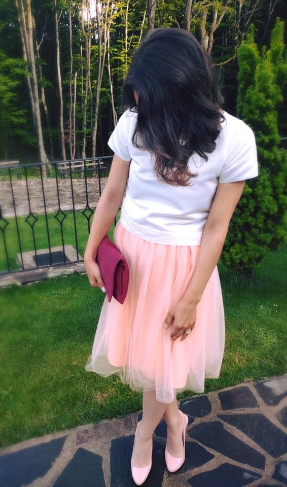 Peach tulle skirt outfit