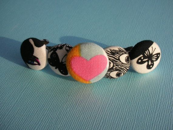 tattoo button barrette with fabric covered buttons by m00nlit, $9.00