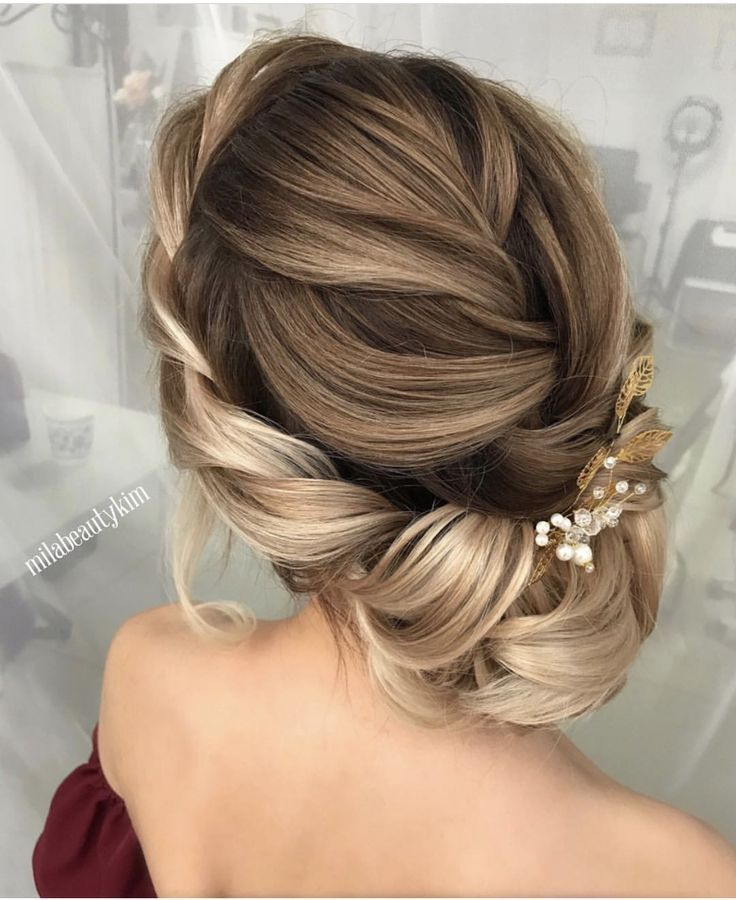 Beautiful bridal hairstyle french braid into braided crown tucked bun sweeping u…