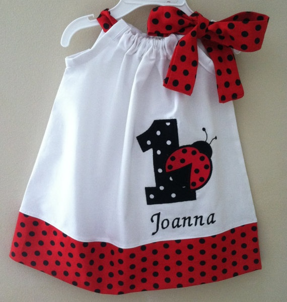 Ladybug birthday pillowcase dress Included by Valentinasplace, $32.00