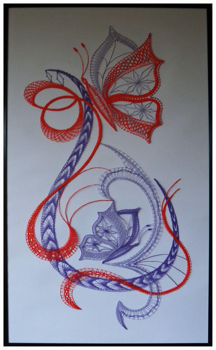 Bobbin lace. Butterflies