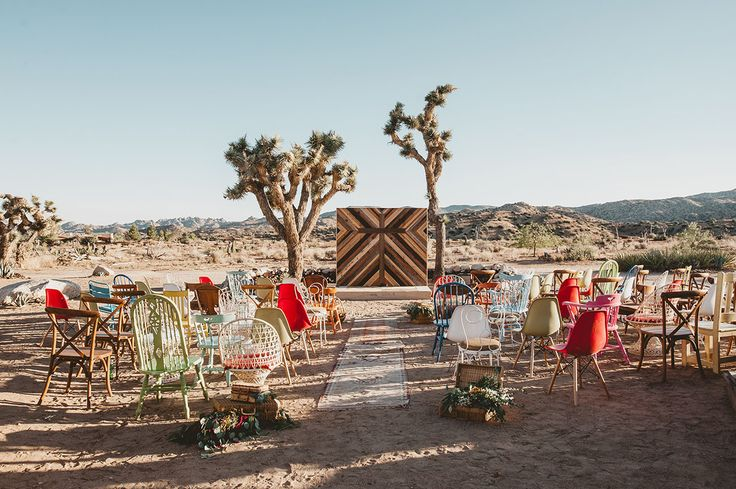Eclectic DIY Desert Wedding - Mismatched Chairs | Green Wedding Shoes.