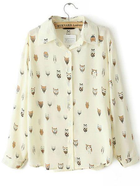 Apricot Lapel Long Sleeve Owl Print Blouse