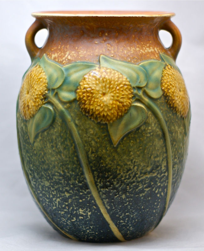 1930's Roseville Sunflower Tall 8 1/2 inch vase.