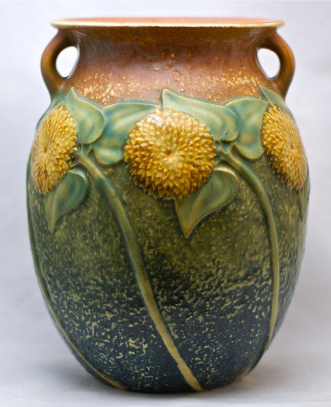 1930's Roseville Sunflower Tall 8 1/2 inch vase.