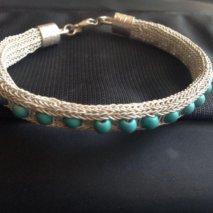 Silver, turkuaz, knot, bracelet By Nur