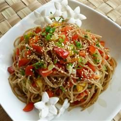 Yummiest ever! Sesame Noodle Salad. Good warm or cold, can add chicken or shrimp to make it an entree