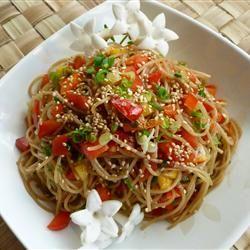 Sesame Noodle Salad (20min) - angel hair pasta, sesame oil, balsamic vinegar, hot chilli oil, sesame seeds, green onion, bell pepper
