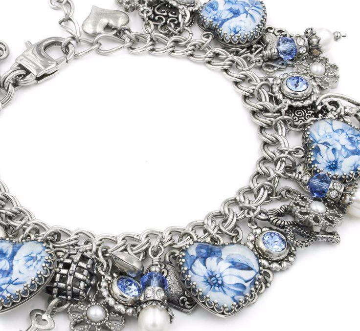 Blue Willow Broken China Charm Bracelet