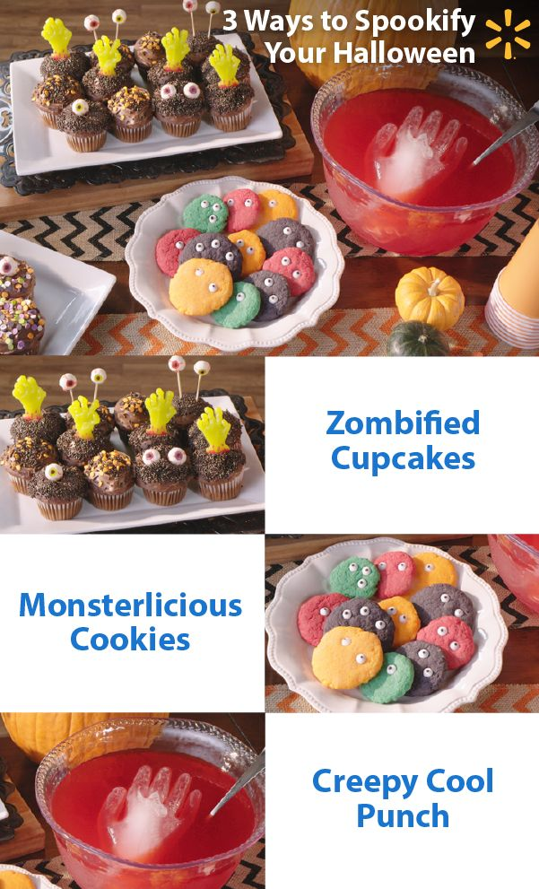 Scare up some yummy Halloween fun! Make your Halloween party scarily memorable with these fearfully easy treat ideas: Add a zombie hand to a standard cupcake and take it from tasty to frightfully delicious. Make your cookies spooky good with cake mix and some eerie eyeballs. Give your punch a touch of the chills with a frozen ice hand. Check out more entertaining recipes, tips and ideas to make your Halloween celebration a monster.
