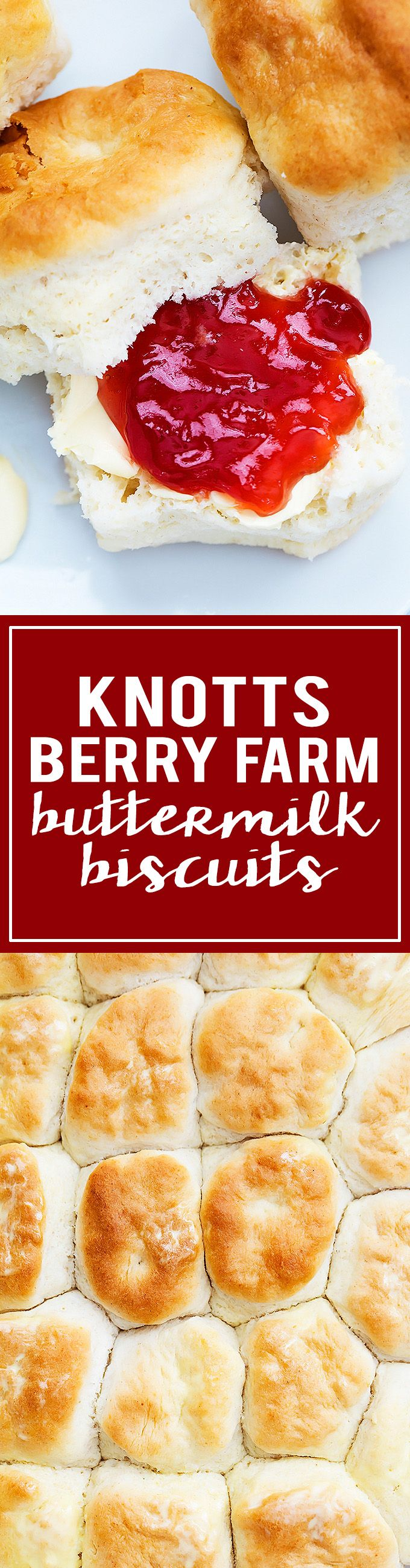 Incredibly buttery, flaky Knott's Berry Farm Buttermilk Biscuits - so easy to make! | Creme de la Crumb