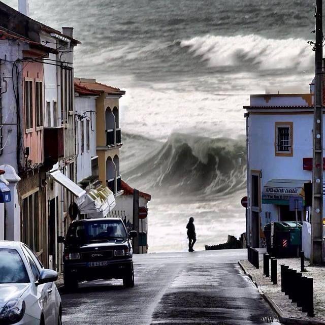 Wild Atlantic sea during winter storms - Praia das Maças, Sintra, Portugal