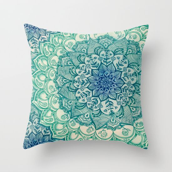 I seriously need this teal, blue green pillow!  So cute! What a gorgeous zentangle / mandala boho style design. | Emerald Doodle by Micklyn  -  society6.com/micklyn